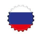 Russian flag on bottle cap Stock Image