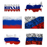Russian flag collage. Russia flag and map in different styles in different textures Stock Image