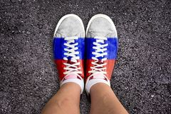 Russian flag colors on sneakers Stock Photography