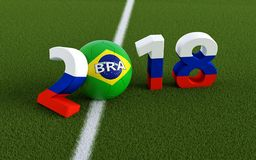 2018 in russian flag colors on a soccer field. A soccer ball in South Koreas national colors representing the 0 in 2018. 3D Rendering Stock Photos