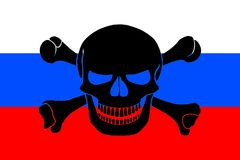 Pirate flag combined with Russian flag. Russian flag combined with the black pirate image of Jolly Roger with crossbones Royalty Free Stock Image