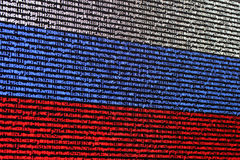 Russian flag consisting of computer code. Royalty Free Stock Photography