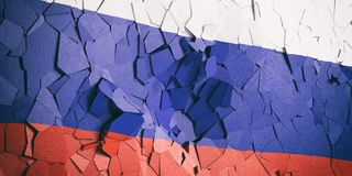 Russian flag on cracked wall background. 3d illustration. Russian crisis. Russia flag on cracked wall background. 3d illustration royalty free illustration