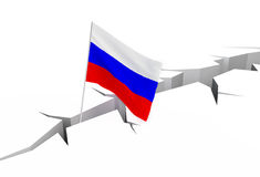 Russian flag falls into a crevasse on the ground. Collapse of the ruble, the collapse of the economy Stock Image