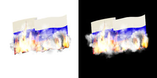 Russian flag in fire and smoke. The Russian flag is on fire and smoke. Isolated object on white and black background with preservation of natural transparency Royalty Free Stock Photography
