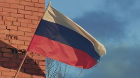 Russian flag fluttering in the wind in slow motion.  stock video footage