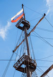 Russian flag flutters on a mast sailing vessel Royalty Free Stock Photography