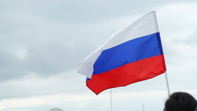 Russian flag flutters in the wind, Anti-corruption protests stock video footage