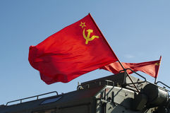 Russian Flag flying on Army ve Royalty Free Stock Photography