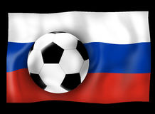 Russian Flag and Football Soccer Ball with effect shadow. Creative Graphic Illustration Stock Photography