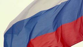 Russian flag, growing in the wind in slow motion. 400 fps stock video footage
