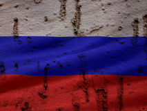 Russian Flag On Grunge Wall Background Royalty Free Stock Images