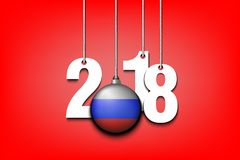 Russian flag and 2018 hanging on strings. New Year numbers 2018 and ball with the Russian flag as a Christmas decorations hanging on strings. Vector illustration Stock Photography