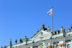 Russian flag on the Hermitage in St. Petersburg, Russia Stock Photo