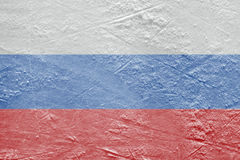 Russian flag on the ice Stock Photos