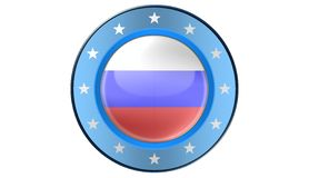 Russian flag, illustration. Russian flag as a button, most illustrations Royalty Free Stock Photo