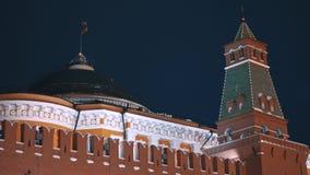 Russian flag, Kremlin wall, no people, night. Russian flag and Kremlin wall. Red Squere, Moscow, Russia. No people, night, dark sky stock footage