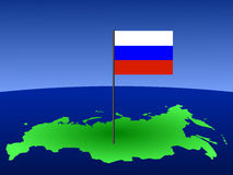 Russian flag on map Stock Photography