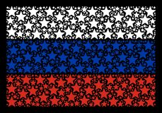 Russian Flag Mosaic of Fireworks Star Objects. Russian State Flag composition combined of fireworks star design elements. Vector fireworks star design elements Royalty Free Stock Images