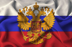 Russian flag. The Russian flag with the national coat of arms in the middle stock photo