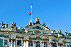 Russian flag over the Winter Palace and Hermitage Museum in Saint Petersburg, Russia Stock Image