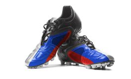 The Russian flag. Painted on football boots. Isolated on white background royalty free stock images