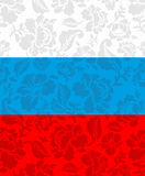 Russian flag painted Khokhloma. National State sign. Royalty Free Stock Image