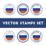 Russian flag rubber stamps set. National flags grunge stamps. Country round badges collection Stock Photography