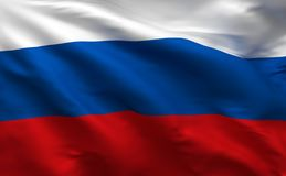 Russian flag, Russia silk material background, 3D rendering royalty free illustration