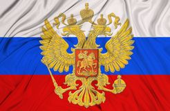 Russian flag. On fabric textile in hi res image stock images