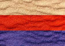 Russian flag on sand. Russian flag on surface of sea sand royalty free illustration