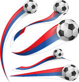 Russian flag set. With soccer ball Royalty Free Stock Photography