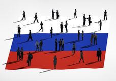 Russian Flag and Silhouette Group of People Stock Images