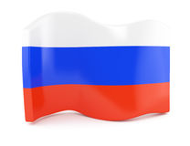 Russian flag. Symbol on white background. 3d render Royalty Free Stock Photos