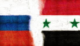 Russian flag and Syria in oil paint grunge. Digital mmaslyannaya painting. Russian flag at half with Syria. Sovmesnogo fight against terrorism Royalty Free Stock Image