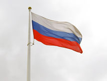 Russian flag tricolor and white flagstuff. Royalty Free Stock Images