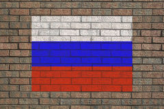Russian flag on wall Stock Photography
