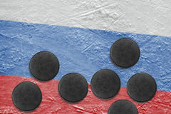 Russian flag and washers on the ice Stock Photography
