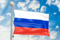 Russian flag waving in blue cloudy sky, 3D rendering. Russian flag waving in blue cloudy sky Stock Photo