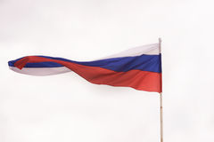 Russian flag waving in the wind. Royalty Free Stock Photography