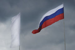 Russian flag waving in the wind. Royalty Free Stock Images