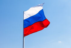 Russian flag waving in the wind Royalty Free Stock Photography