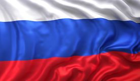 Russian flag waving in the wind. Flag of Russia blowing in the wind. 3D illustration Royalty Free Stock Photo