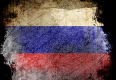 Russian flag. Waving in the wind with some spots and stains Royalty Free Stock Image