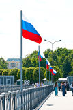 Russian Flags on a pier Royalty Free Stock Photo