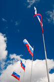 Russian flags waving Royalty Free Stock Photo
