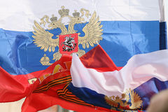 Russian flags Stock Photography