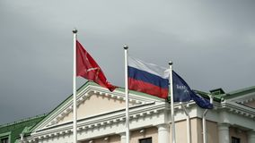 Russian flags in the wind stock footage