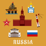 Russian flat travel icons and symbols Royalty Free Stock Photo