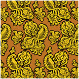 Russian floral pattern. In gold Royalty Free Stock Photo